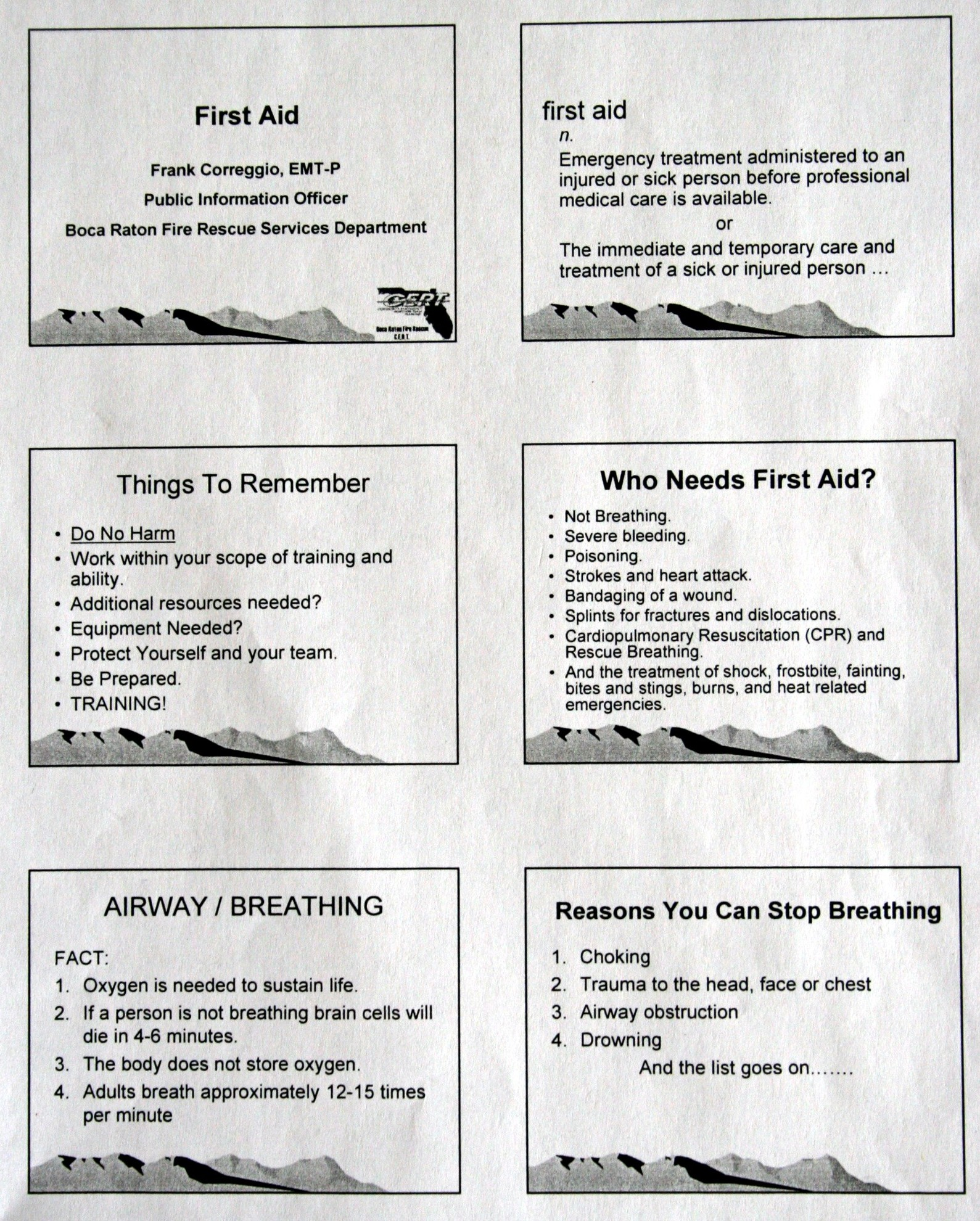 First Aid Page 1